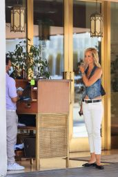 Lady Victoria Hervey in a Denim Vest and Tights - Los Angeles 09/15/2021