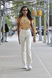 Laura Harrier in a Tie-die Shirt and Off-white Pants and White Sneakers - New York 09/12/2021