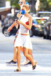 Lily-Rose Depp in a White Crop Top and Short Skirt - NYC 09/19/2021