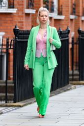 Lottie Moss in a PrettyLittleThing Green Suit and a Sheer Pink Shirt 09/13/2021