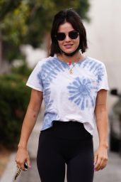 Lucy Hale in a Tie-Dye Tee and Leggings - Studio City 08/31/2021