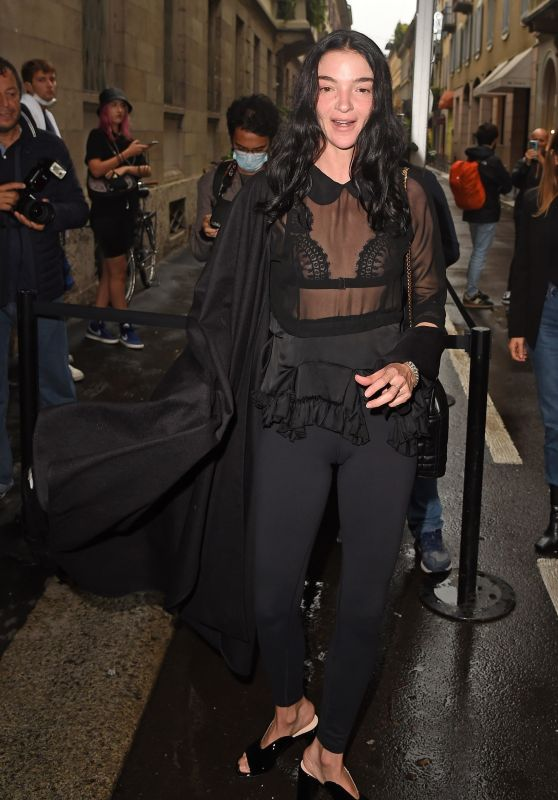 Mariacarla Boscono Arrives at Versace Fendi Drop Fashion Show in Milan 09/26/2021