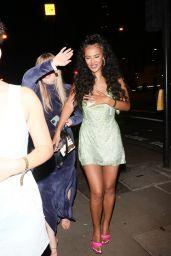 Maya Jama in a Sparkling Metallic Gold Dress at Tiffany Calvert's Party in London 09/13/2021