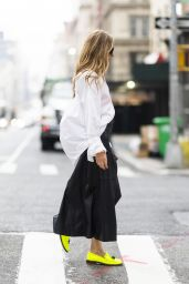 Olivia Palermo Wearing a Long Black Leather Skirt and White Button Down Shirt - NYC 09/20/2021
