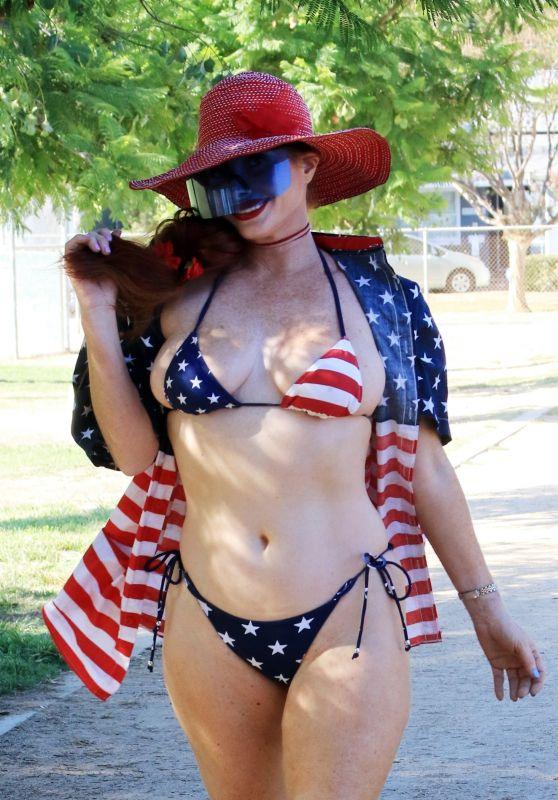 Phoebe Price in an American Flag Bikini - Los Angeles 09/06/2021