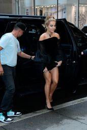 Rita Ora in a Black Mini Dress - New York 09/09/2021