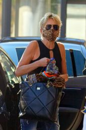 Sharon Stone Wearing an Animal Print Face Mask - Out in Zurich 09/24/2021