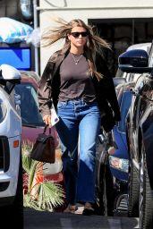 Sofia Richie Wearing a Satin Brown Shirt and Blue Denim at Matsuhisa in Beverly Hills 09/18/2021