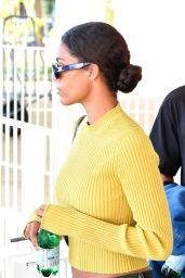 Tina Kunakey in a Yellow Crop Top at Marco Polo in Venice 09/02/2021