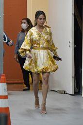 Vanessa Lachey in Yellow and Orange Paisley Shirt and Skirt 09/27/2021