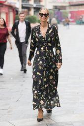 Vogue Williams in High Split Flowing Dress in London 09/26/2021