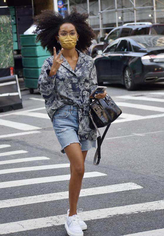 Yara Shahidi in a Printed Top, Denim Shorts and White Sneakers - New York 09/12/2021