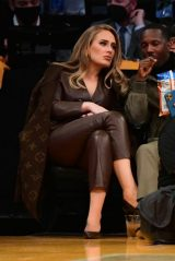 Adele Wearing a Brown Leather Jumpsuit - Los Angeles 10/19/2021