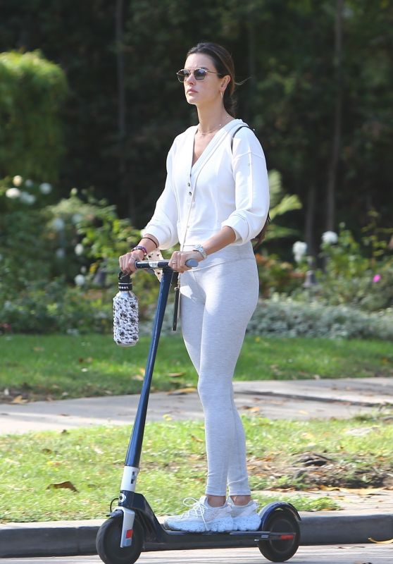 Alessandra Ambrosio on a Scooter in Brentwood 10/08/2021