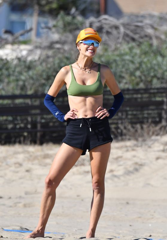 Alessandra Ambrosio - Plays Beach Volleyball in Santa Monica 10/10/2021