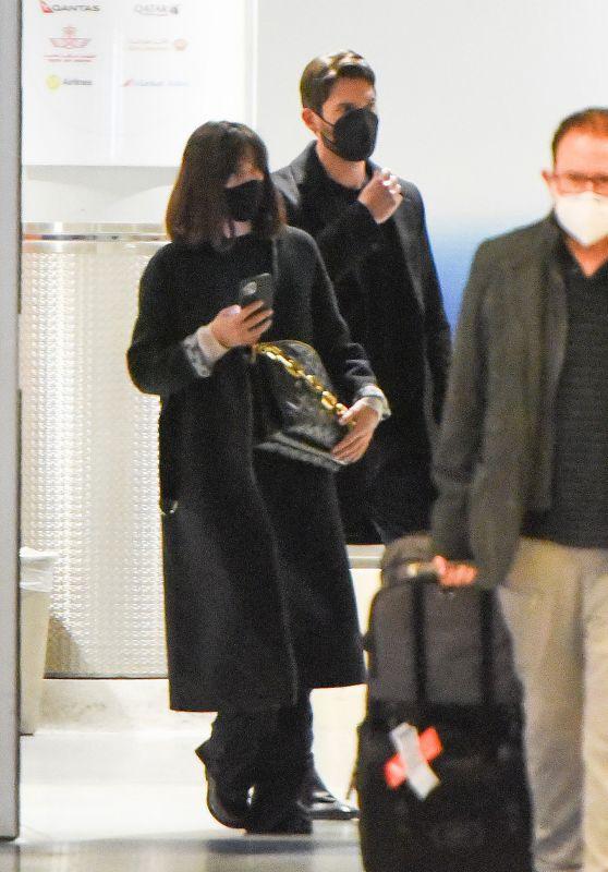 Ana de Armas and Paul Boukadakis at JFK Airport in New York City 10/06/2021