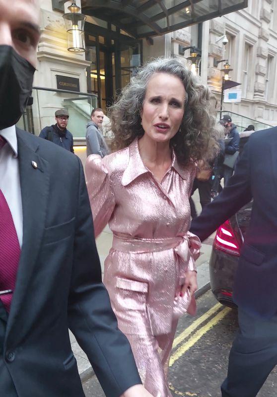 Andie MacDowell - Leaving Her Hotel in London 10/07/2021