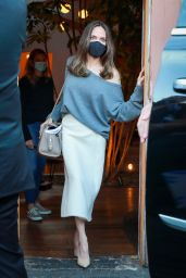 Angelina Jolie in an off-the Shoulder Grey Sweater and Flowing White Skirt - Skylight Bookstore in LA 10/13/2021