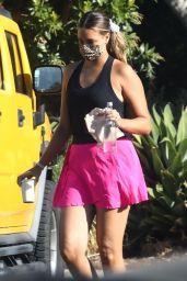 April Love Geary Wears Pink Alo Tennis Shorts and a Black Tank Top - Blue Bottle Coffee in LA 10/05/2021