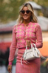 Ashley Roberts in a Pink Patterned Skirt Suit - London 10/06/2021