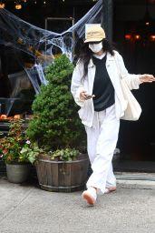 Bella Hadid in a White Ralph Lauren Tracksuit - New York 10/13/2021