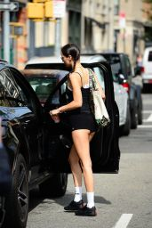 Bella Hadid Wears a Pair of Tiny Shorts - New York 10/11/2021