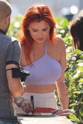 Bella Thorne in Comfy Outfit - Milan 09/29/2021