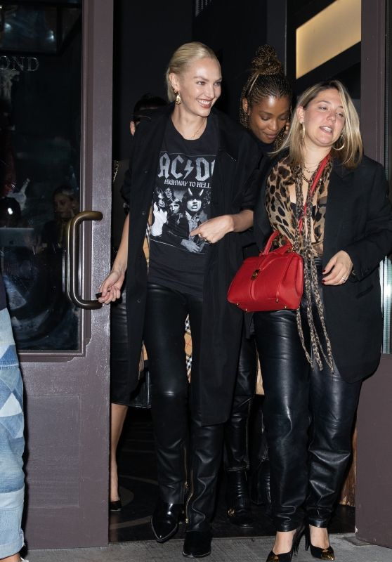 Candice Swanepoel in an AC/DC T-shirt and Leather Pants - NY 10/21/2021