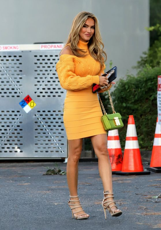 Chrishell Stause in Golden Sweater Dress - West Hollywood 10/12/2021