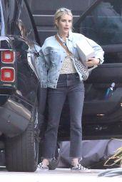 Emma Roberts in a Denim Jacket and Black Jeans - LA 10/04/2021