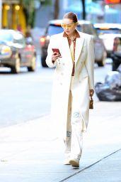 Gigi Hadid in a White Overcoat - NYC  10/11/2021