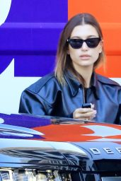 Hailey Rhode Bieber in Black Leather Bomber Jacket and Skintight Leggings - LA 10/05/2021