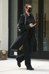 Irina Shayk in a Black Burberry Trench Coat in New York 10/07/2021