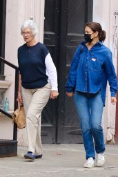 Katie Holmes in All Denim Look - Shopping With Mom Kathleen in NYC 10/09/2021