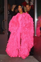 Kim Kardashian in All Pink - Arrives at the SNL After Party in NYC 10/09/2021