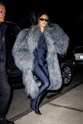 Kim Kardashian in Shimmery and Shaggy Coat - NYC 10/05/2021