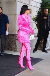 Kim Kardashian Wears All Pink Balenciaga Outfit - New York 10/07/2021
