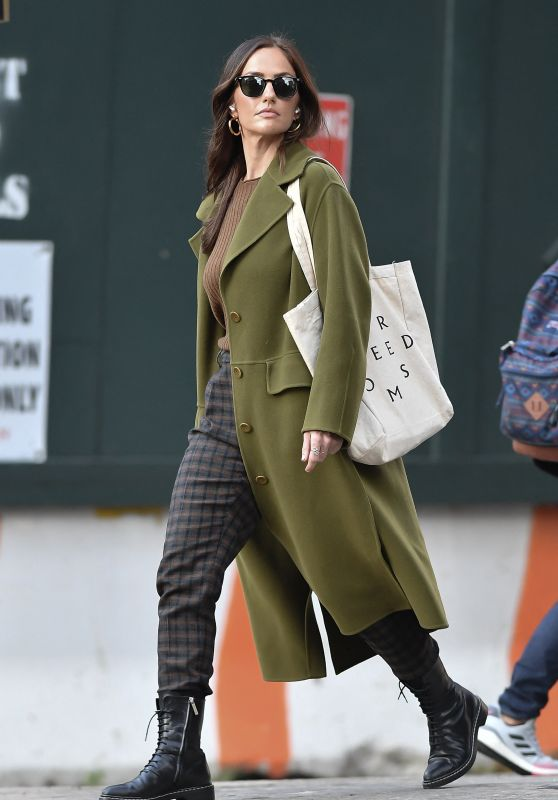 Minka Kelly in an Olive Green Jacket and Plaid Pants - New York 10/12/2021