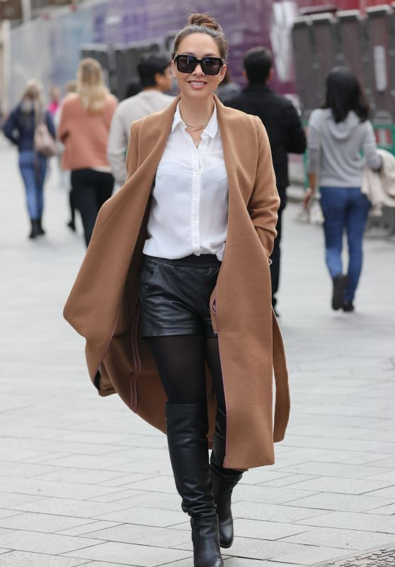Myleene Klass in Leather Shorts and Heals - London 10/16/2021