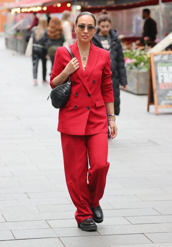 Myleene Klass Wearing a Striking Scarlet Trouser Suit - London 10/22/2021
