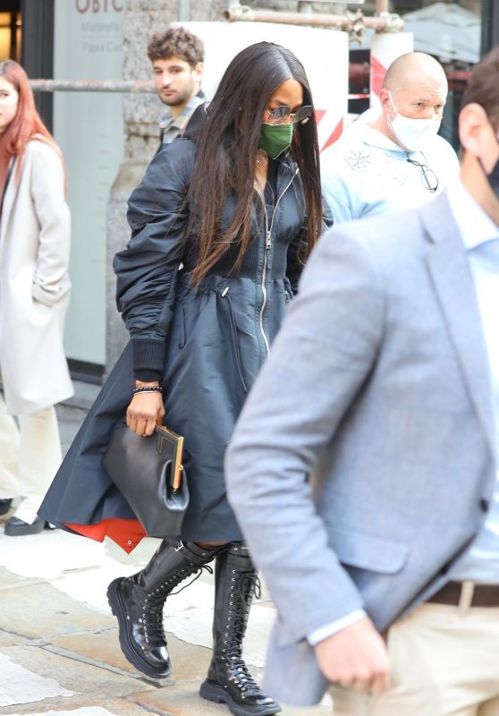 Naomi Campbell in Laced Up Black Leather Boots - Out in Milan 10/15/2021