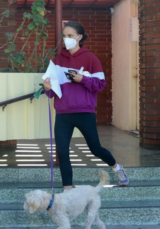 Natalie Portman Wears a Purple Hoody and Black Leggings - Los Feliz 10/22/2021