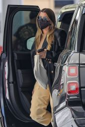 Sofia Richie in Black Trench Coat - Beverly Hills 10/13/2021
