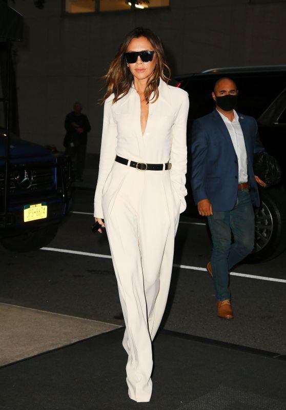 Victoria Beckham in All White - New York City 10/13/2021